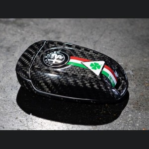 Alfa Romeo Giulia Key Fob Cover  - Carbon Fiber - Black w/ QV Logo