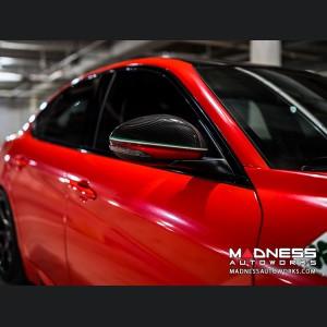 Alfa Romeo Giulia Mirror Covers - Carbon Fiber - Red Stripe w/ QV Logo