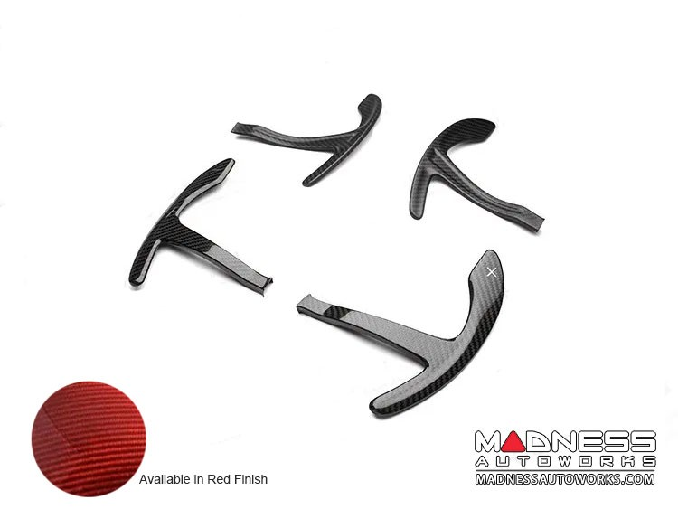 Alfa Romeo Stelvio Carbon Fiber Paddle Shifter Covers - Red Carbon