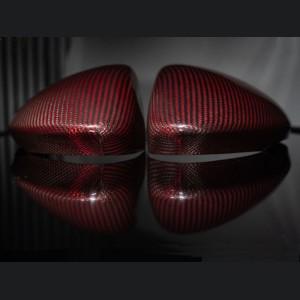 Alfa Romeo Stelvio Mirror Covers - 100% Genuine Carbon Fiber - Red Carbon