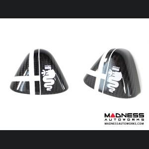 Alfa Romeo 4C Carbon Fiber Upper Safety Belt Ring Cover - White Alfa Flag Theme