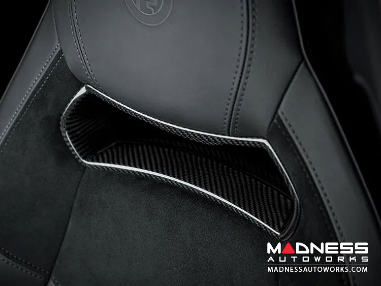 Alfa Romeo Giulia Sparco Seats Headrest Inserts Covers - Carbon Fiber - Quadrifoglio Model
