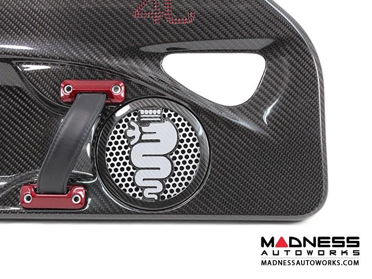 Alfa Romeo 4C Carbon Fiber Speaker Grill Covers - Alfa Logo in White Logo
