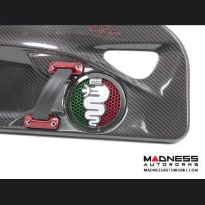 Alfa Romeo 4C Carbon Fiber Speaker Grill Covers - Alfa Logo in Italian Colors