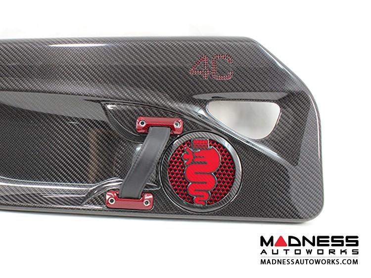Alfa Romeo 4C Carbon Fiber Speaker Grill Covers - Alfa Logo in Red