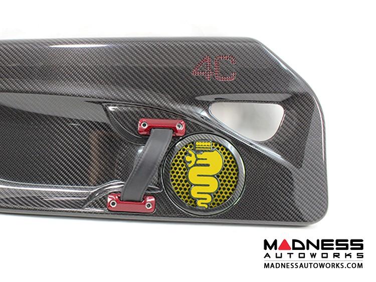 Alfa Romeo 4C Carbon Fiber Speaker Grill Covers - Alfa Logo in Yellow