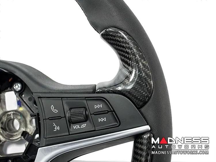 Alfa Romeo Giulia Steering Wheel Trim - Std Model - 2 Thumb Grip Covers - Carbon Fiber
