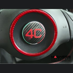 Alfa Romeo 4C Carbon Fiber Steering Wheel Badge Cover - 4C Logo w/ Italian Flag