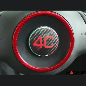 Alfa Romeo 4C Carbon Fiber Steering Wheel Badge Cover - 4C Logo w/ Italian Flag