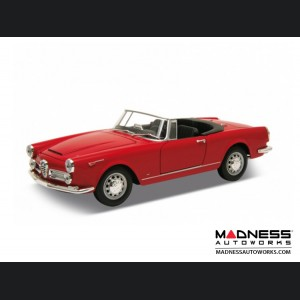 Alfa Romeo Spider 2600 Die Cast Model - 1:24 Scale - Red - 1960 Soft Top Convertible - Down