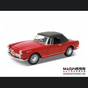 Alfa Romeo Spider 2600 Die Cast Model - 1:24 Scale - Red - 1960 Soft Top Convertible - Up