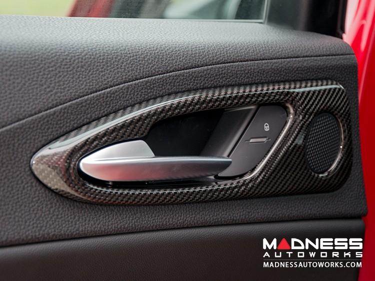 Alfa Romeo Giulia Interior Door Handle Trim Set - Carbon Fiber