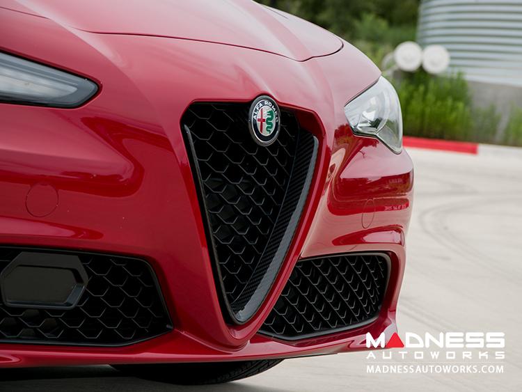 Alfa Romeo Giulia Front V Shield Grill Frame Emblem Frame Kit Carbon Fiber