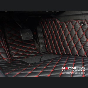 Alfa Romeo Giulia Floor Liner Set - Black w/ Red Stitching - RWD