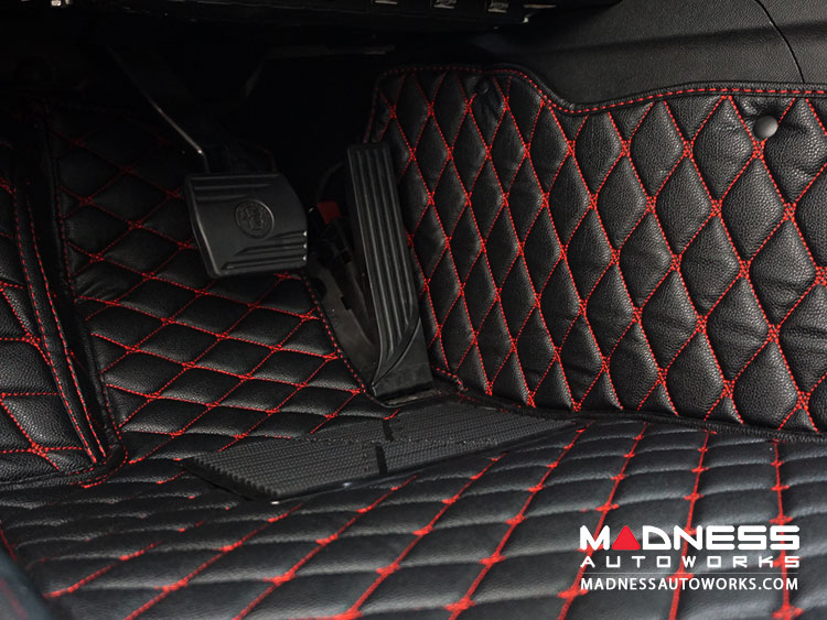 Audi A6L  Floor Liner Set - Black w/ Red Stitching - w/ out Cup Holder Slots