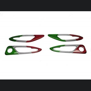 Alfa Romeo Giulia Interior Door Handle Trim Set - Carbon Fiber - Italian Flag