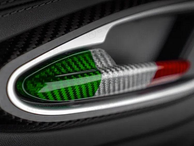 Alfa Romeo Stelvio Interior Door Handle Trim Set - Carbon Fiber - Italian Flag