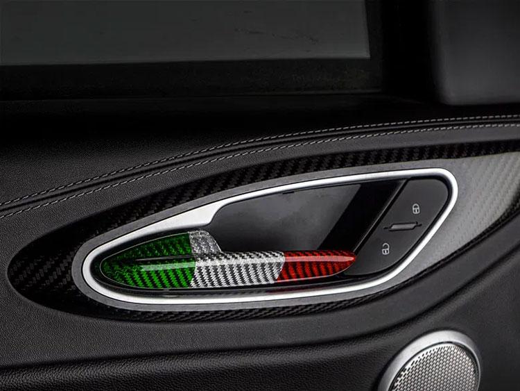 Alfa Romeo Giulia Interior Door Handle Set - Carbon Fiber - Italian Flag