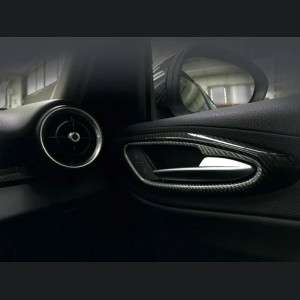 Alfa Romeo Giulia Interior Door Handle Trim Set - Carbon Fiber - White