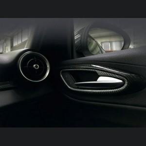 Alfa Romeo Giulia Interior Door Handle Trim Set - Carbon Fiber - White