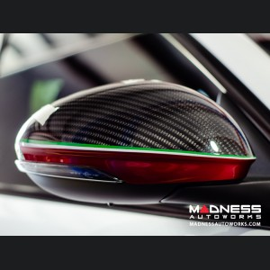 Alfa Romeo Giulia Mirror Covers - Carbon Fiber - Full Replacements - Red Stripe w/ QV Logo