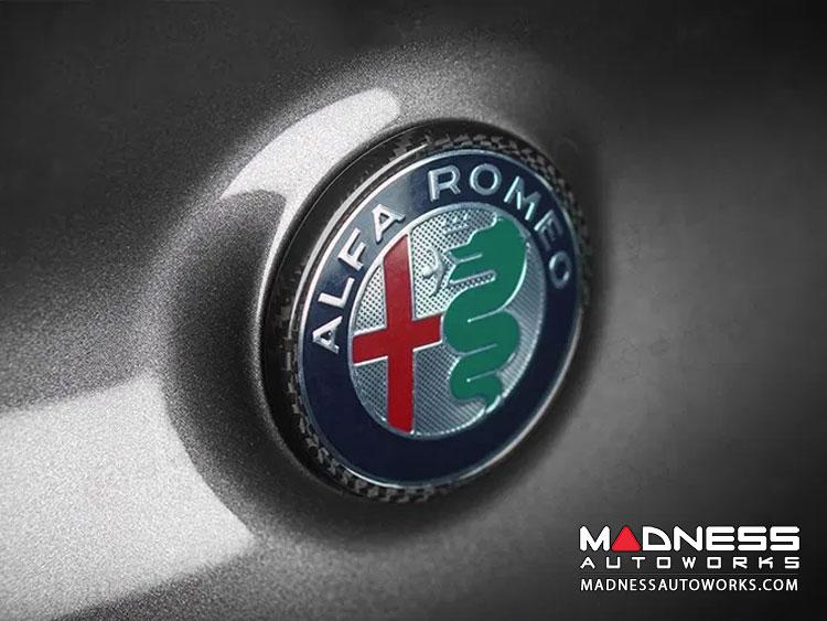 Alfa Romeo Giulia Carbon Fiber Rear Emblem Frame Trim - Candy Red
