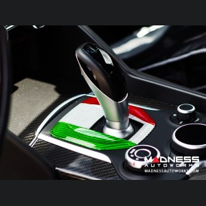 Alfa Romeo Giulia Shift Gate Panel - Automatic - Carbon Fiber - Italian Flag Design - Non Quadrifoglio Model