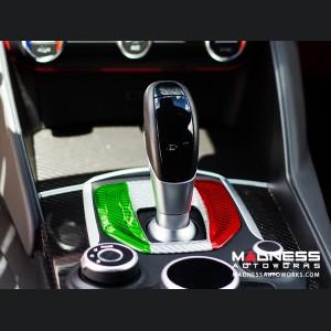 Alfa Romeo Giulia Shift Gate Panel - Automatic - Carbon Fiber - Italian Flag Design - Non Quadrifoglio Model