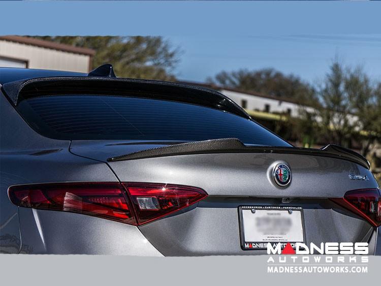 Alfa Romeo Giulia Trunk Spoiler - Quadrifoglio Style - 100% Carbon Fiber - Gloss Finish - Feroce Carbon