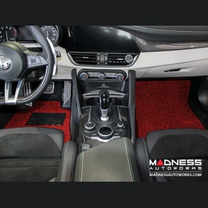 Alfa Romeo Giulia All Weather Floor Mats (set of 4) - Soft Touch PVC Loop - Red/ Black - RWD