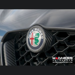 Alfa Romeo Giulia Front V Shield Grill Frame - Matte Carbon Fiber - Quadrifoglio