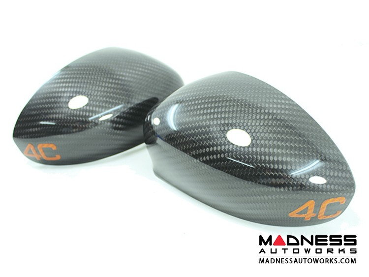 Alfa Romeo 4C Carbon Fiber Mirror Covers - 4C in Orange