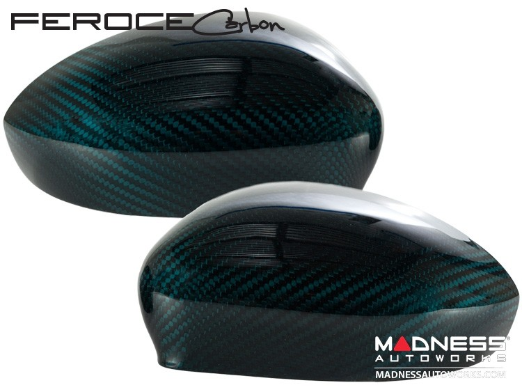 Alfa Romeo 4C Carbon Fiber Mirror Covers - Verde Azzurro (Blue-Green)