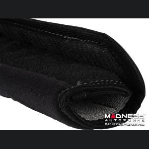 Alfa Romeo Seat Belt Shoulder Pads (set of 2) - Black w/ Alfa Romeo Logo and Black Binding