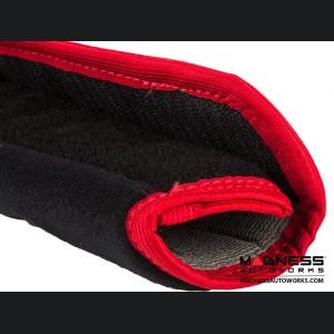 Alfa Romeo Seat Belt Shoulder Pads (set of 2) - Black w/ Alfa Romeo Logo and Red Binding