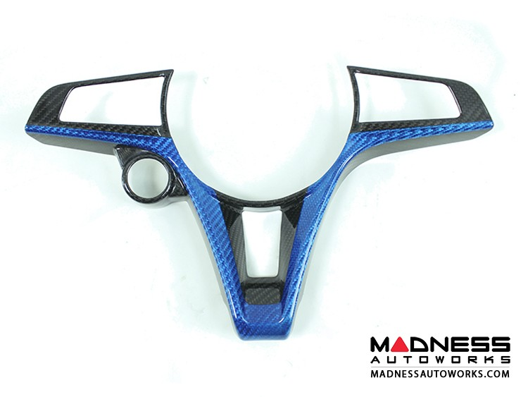 Alfa Romeo Giulia Steering Wheel Trim - Std Model - Carbon Fiber - Custom CF Black/ Blue  Finish
