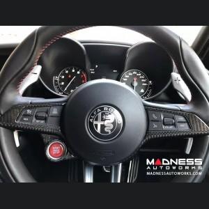 Alfa Romeo Giulia Steering Wheel Trim - QV Model - Center Trim Piece - Carbon Fiber - Custom CF Black/ White Finish