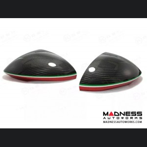 Alfa Romeo Stelvio Mirror Covers - Carbon Fiber - Red Stripe