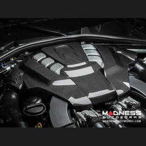 Alfa Romeo Giulia Engine Cover - Carbon Fiber - Quadrifoglio Version - White Accents