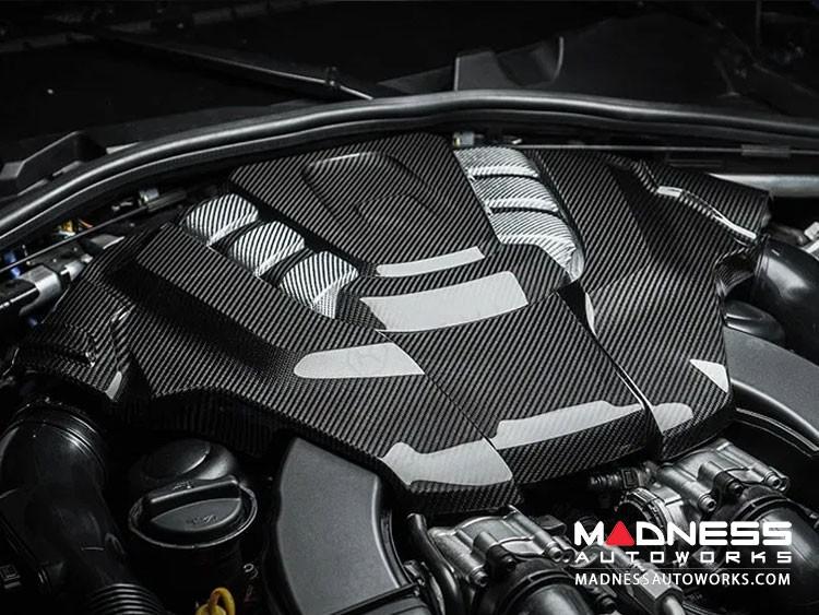 Alfa Romeo Giulia Engine Cover - Carbon Fiber - Quadrifoglio Version - White Accents