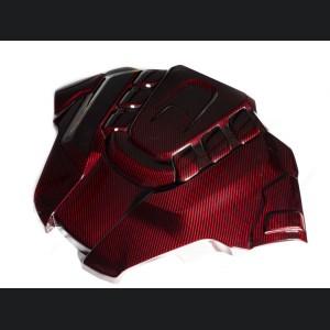 Alfa Romeo Stelvio Engine Cover - Carbon Fiber - Quadrifoglio Version - Red Candy