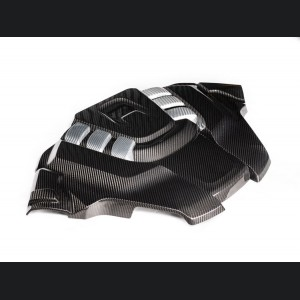 Alfa Romeo Stelvio Engine Cover - Carbon Fiber - Quadrifoglio - White Accents