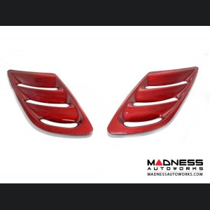Alfa Romeo Stelvio Hood Air Vent Trim Kit - Quadrifoglio - Carbon Fiber - Red Candy