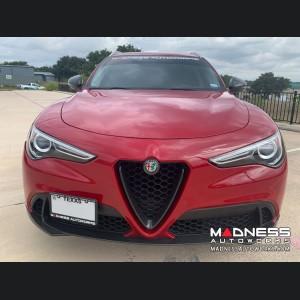 Alfa Romeo Stelvio Front V Shield Grill Frame + Emblem Frame Kit - Carbon Fiber - Non-Quadrifoglio Model