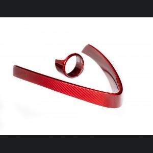 Alfa Romeo Stelvio Front V Shield Grill Frame + Emblem Frame Kit - Carbon Fiber - Red Candy - Non-Quadrifoglio Model