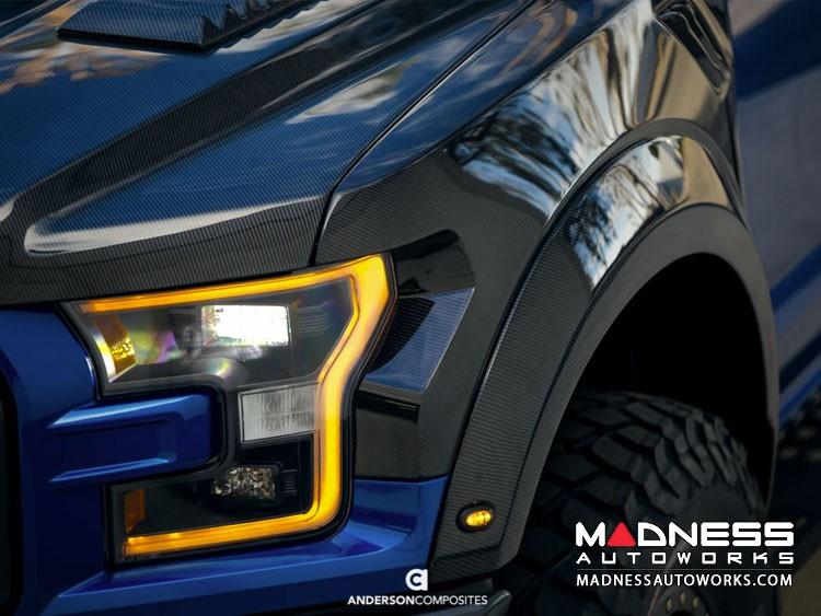 Ford Raptor Carbon Fiber Front Fender Flares - Type-OE  by Anderson Composites