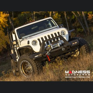 Jeep Wrangler JL Trailchaser Front Steel Bumper w/ Aluminum Fender Flares - Option 9 - Carbon Steel