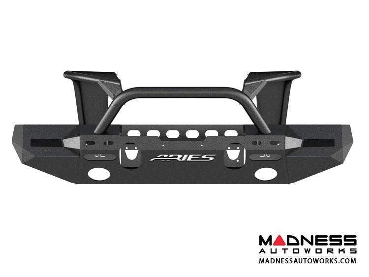 Jeep Wrangler JL Trailchaser Front Bumper w/ Aluminum Fender Flares - Option 8 - Carbon Steel