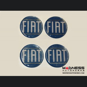 "Wheel Badges (set of 4) - Classic FIAT Inspired Design - 2"" - Blue"
