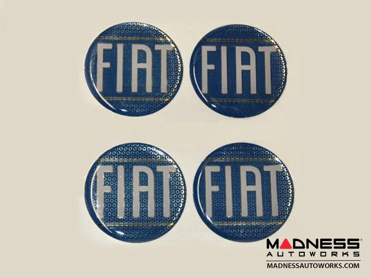 "Wheel Badges (set of 4) - Classic FIAT Inspired Design - 2"" - Blue"